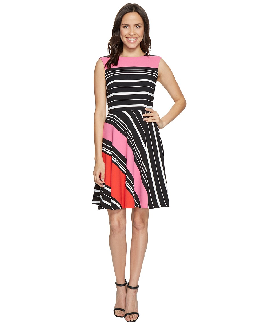 Tahari by ASL Tahari by ASL - Crepe Multi-Stripe A-Line Dress