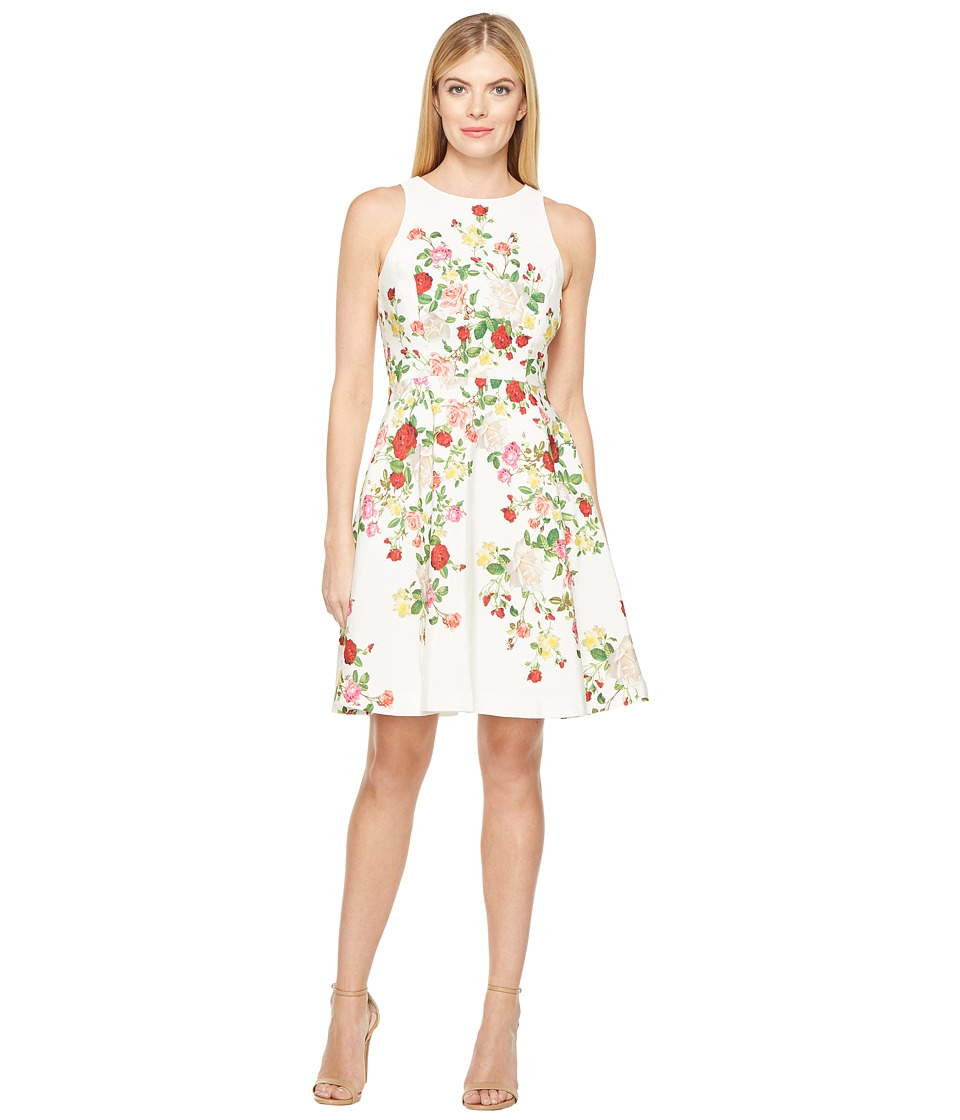Tahari by ASL Faille Floral Fit Flare Dress (White/Red/Lemon) Women