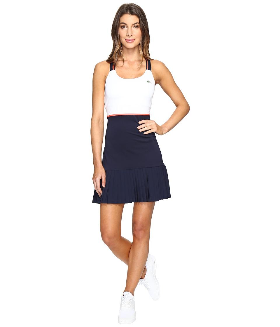 Lacoste SPORT Australian Open Tennis Dress (White/Navy Blue/Fluo Energy) Women