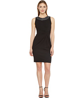 Tahari by ASL - Scuba Crepe Beaded Neck Sheath Dress