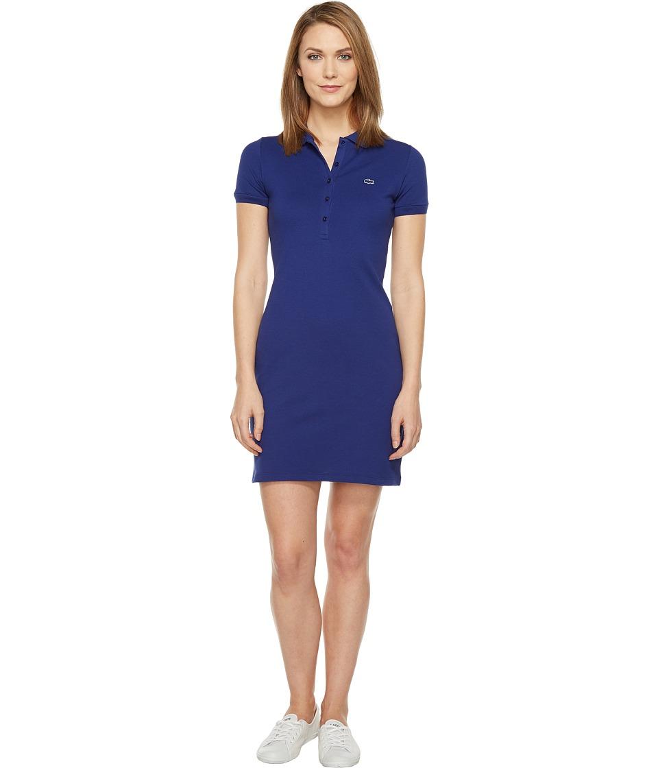Lacoste Short Sleeve Pique Polo Dress (Ocean) Women