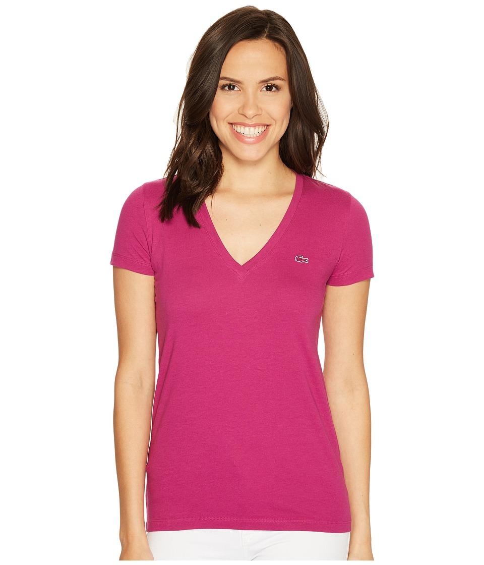 Lacoste Short Sleeve Cotton Jersey V-Neck Tee Shirt (Purple) Women