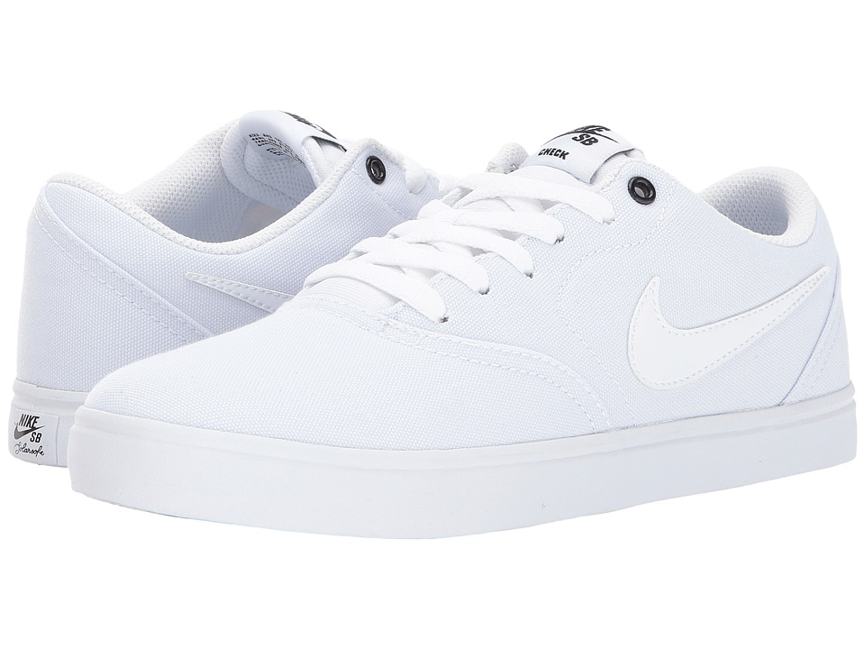 Nike SB Check SS Canvas (White/White/Black) Women's Skate Shoes