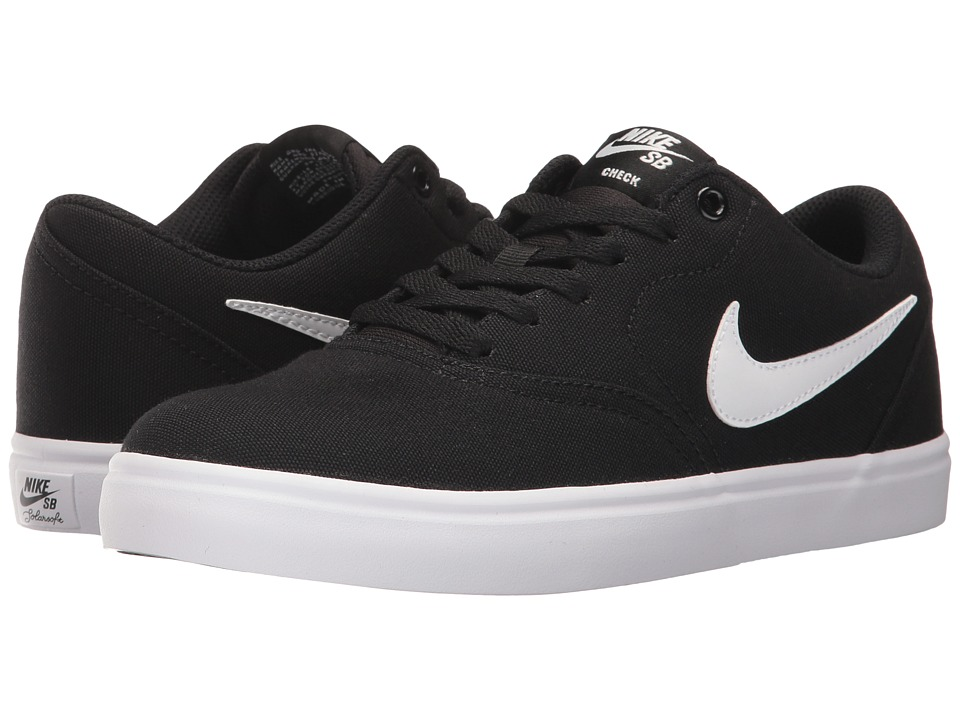 Nike SB Check SS Canvas (Black/White/Pure Platinum) Women's Skate Shoes