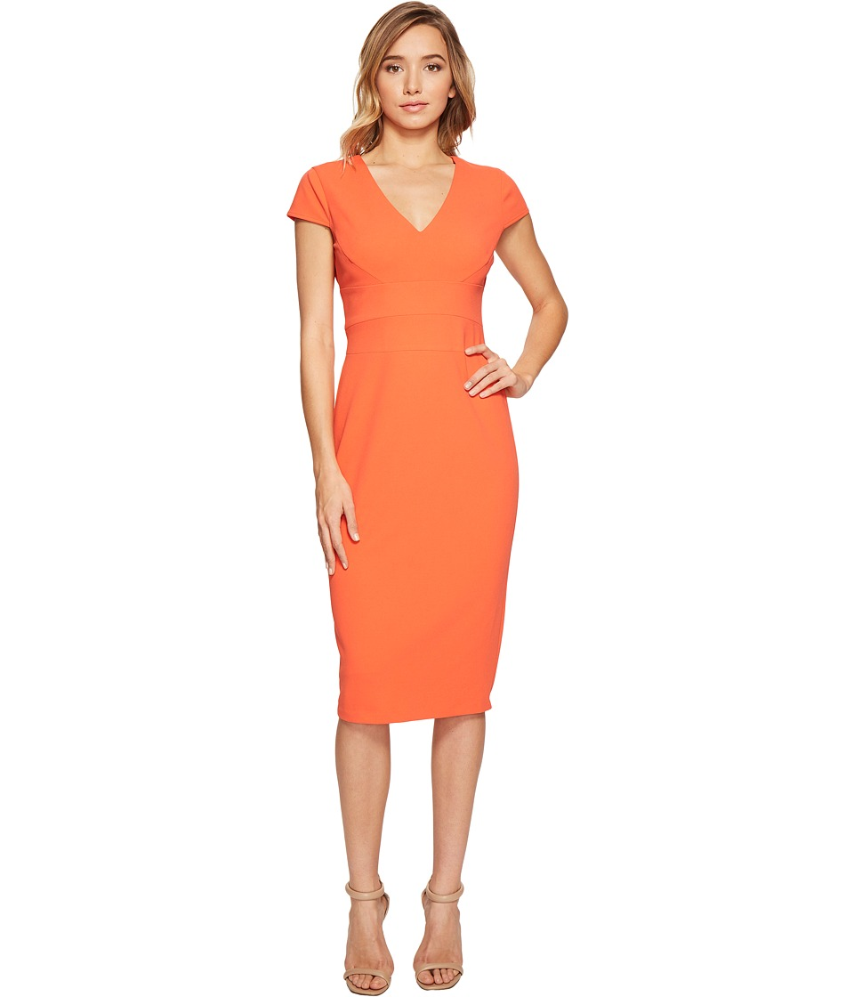 Donna Morgan Cap Sleeve Fitted Stretch Crepe Sheath Dress (Tea Rose Red) Women