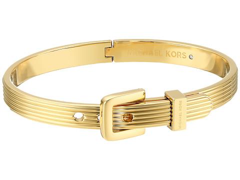 Michael Kors Heritage Ridged Texture Skinny Ridged Buckle Hinged Bangle Bracelet
