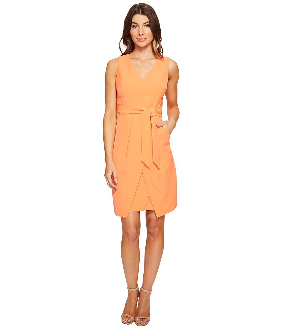 Donna Morgan Crepe Dress w/ Tie Detail at Waist and Overlapping Skirt (Sherbert) Women