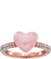 Michael Kors - Carved Hearts Rose Quartz and Pavé Crystal Heart Ring