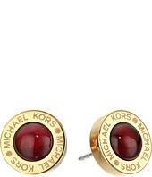 Michael Kors - Logo Garnet Mother-of-Pearl Status Disc Stud Earrings
