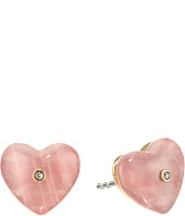 Michael Kors - Carved Hearts Rose Quartz Stud Earrings