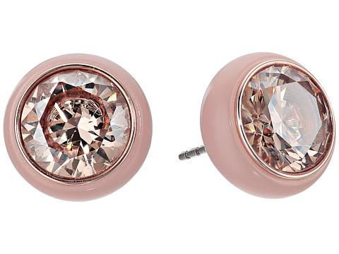 Michael Kors Blush Acetate and Pavé Crystal Round Stud Earrings