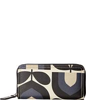 Orla Kiely - Matt Laminated Stripe Tulip Print Big Zip Wallet