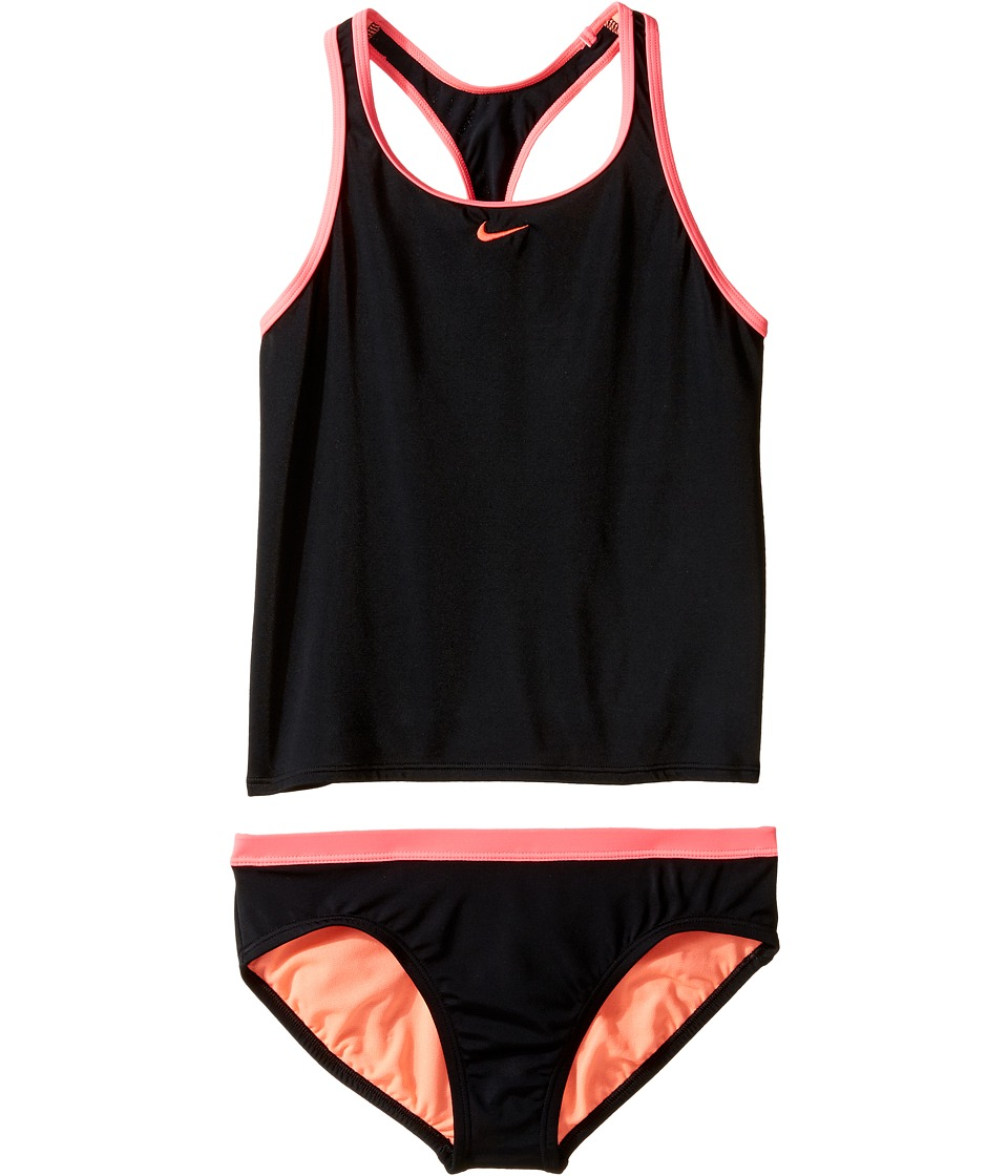 Nike Kids Core Solid Racerback Tankini (Big Kids) (Black) Girl