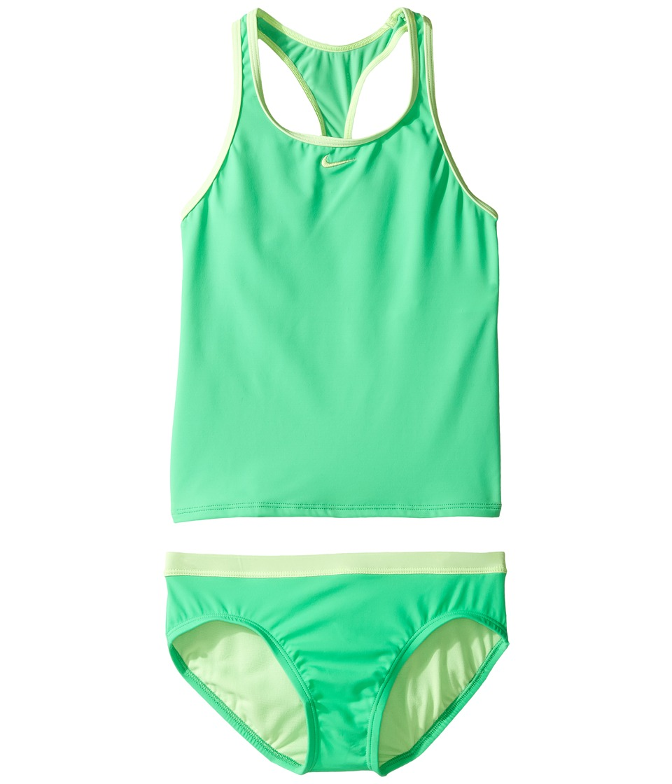 Nike Kids Core Solid Racerback Tankini (Big Kids) (Electro Green) Girl