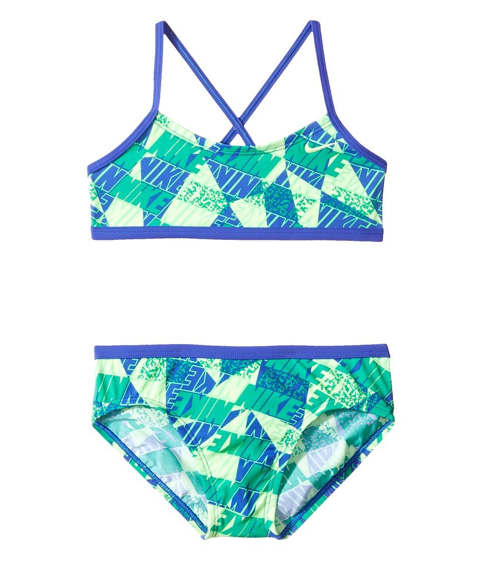 Nike Kids - Graphic Crossback Bikini (Big Kids) (Paramount Blue) Girls Swimwear Sets