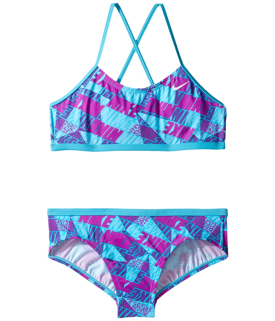 Nike Kids Graphic Crossback Bikini (Big Kids) (Chlorine Blue) Girl