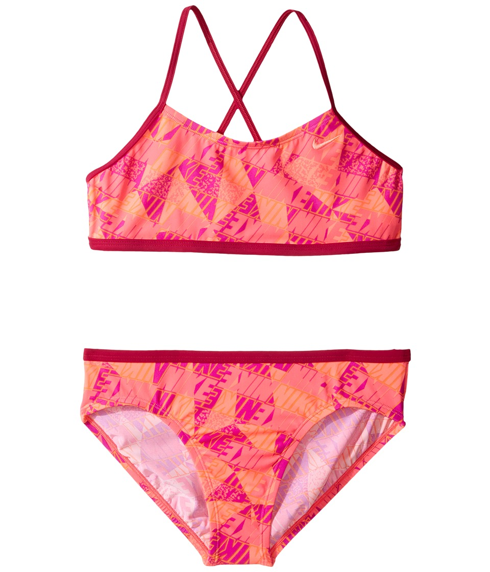 Nike Kids Graphic Crossback Bikini (Big Kids) (Sport Fuchsia) Girl
