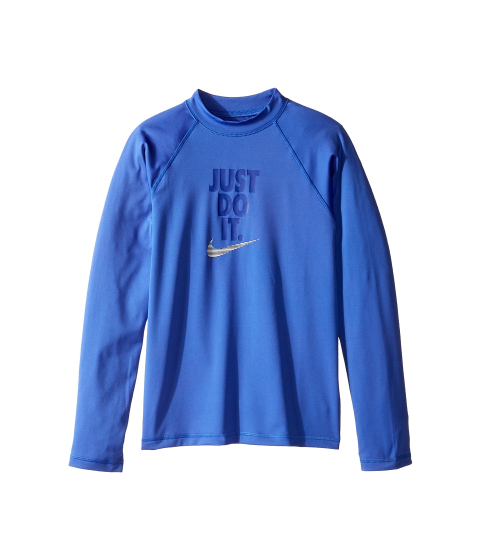 Nike Kids Just Do It Long Sleeve Hydroguard Top (Big Kids) (Medium Blue) Girl