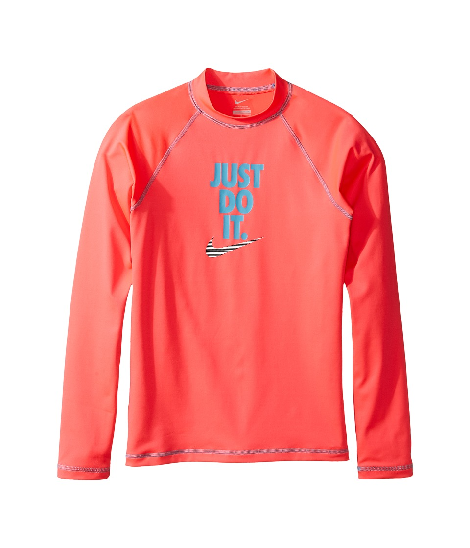 Nike Kids Just Do It Long Sleeve Hydroguard Top (Big Kids) (Racer Pink) Girl