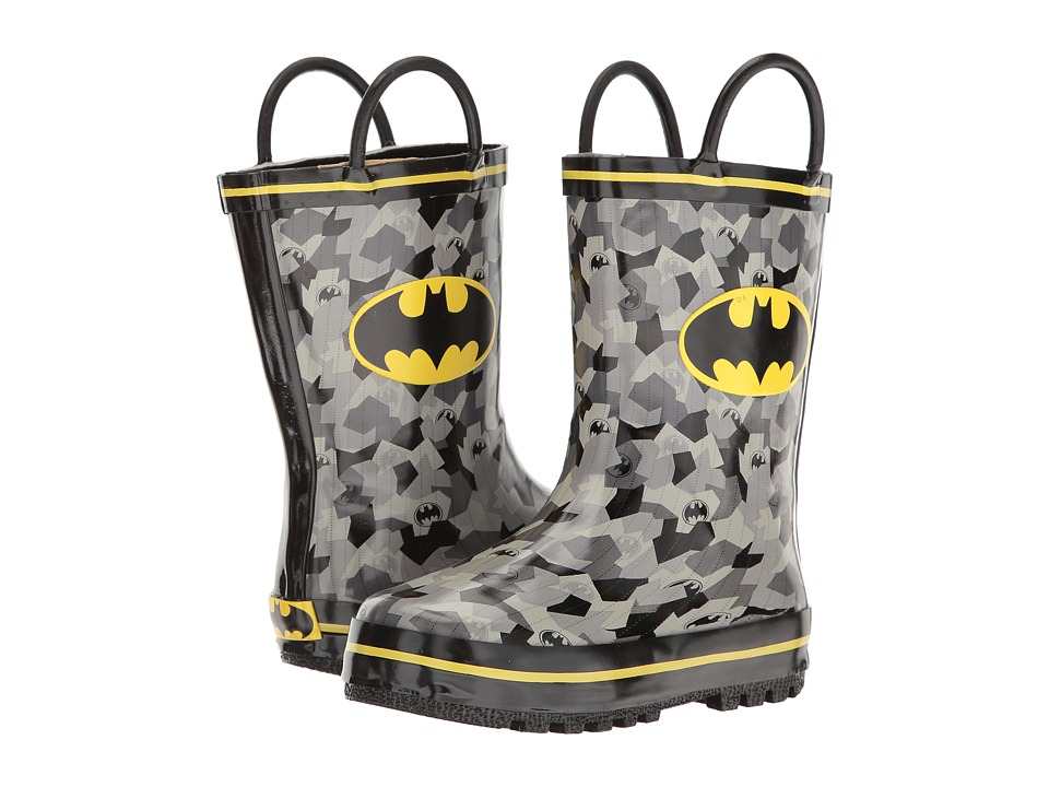 Batman Rain Boots BMS503 (Toddler/Little Kid) (Black/Grey/Yellow) Boys Shoes
