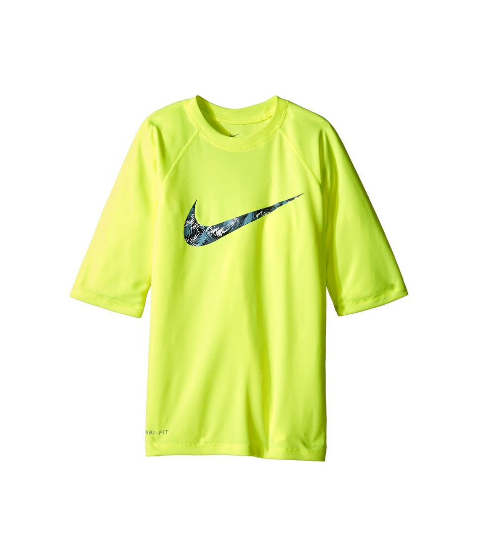 Nike Kids Watercamo Short Sleeve Hydro Top (Big Kids) (Volt) Boy