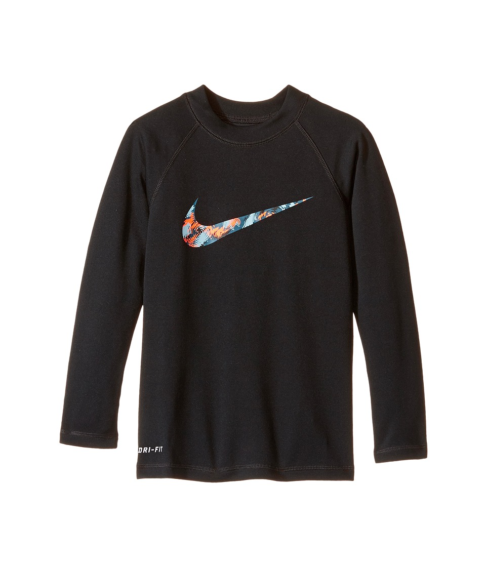 Nike Kids Watercamo Long Sleeve Hydro Top (Little Kids) (Black) Boy