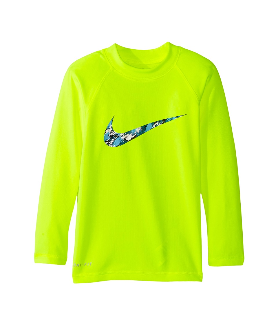 Nike Kids Watercamo Long Sleeve Hydro Top (Little Kids) (Volt) Boy