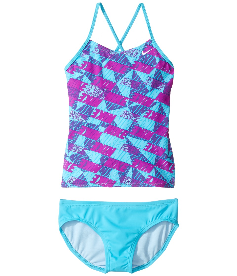Nike Kids Graphic Crossback Tankini (Big Kids) (Chlorine Blue) Girl