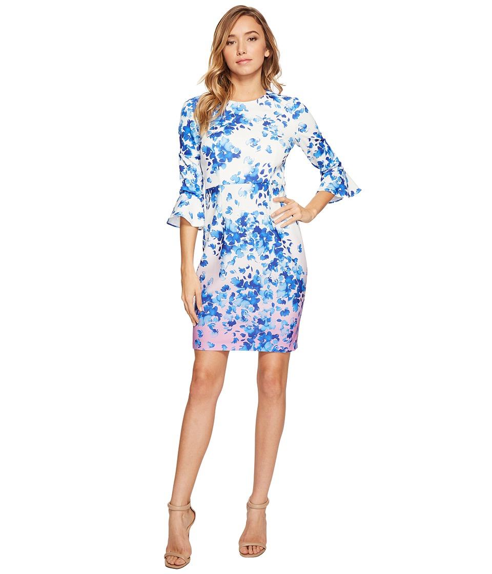 Donna Morgan 3/4 Sleeve Bell Sleeve Sheath Dress (Whitecap Grey/Hydrangea/Navy Multi) Women