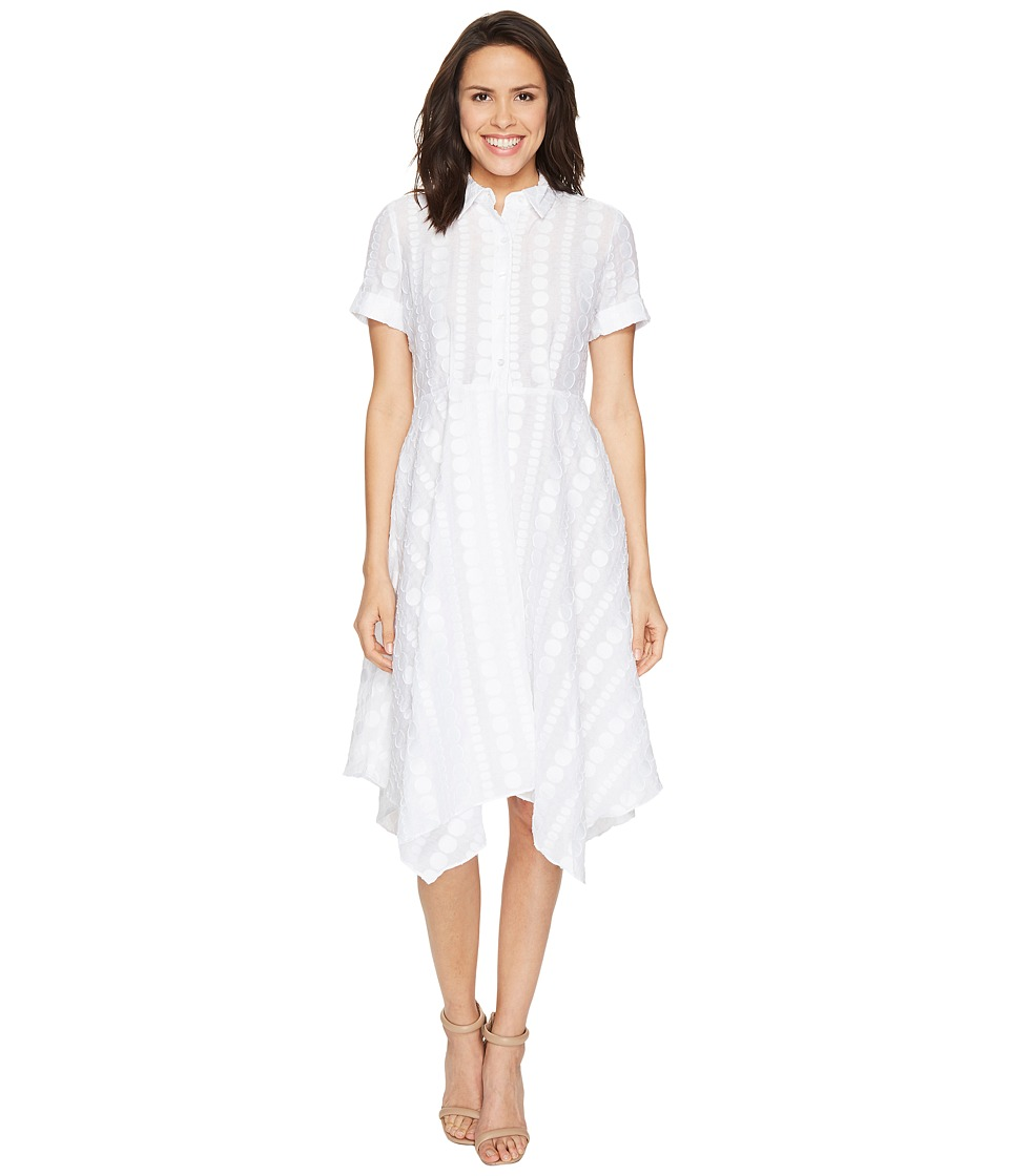 Donna Morgan Dot Burnout Jacqquard Shirt Dress with Handkerchief Hem Skirt (White) Women