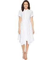 Donna Morgan - Dot Burnout Jacqquard Shirt Dress with Handkerchief Hem Skirt