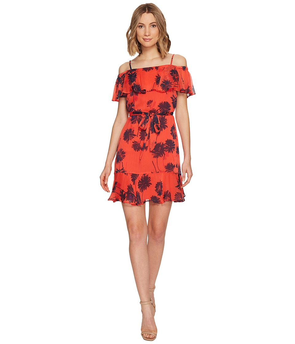 Donna Morgan Belted Trapeze Dress with Ruffle Cold Shoulder (Tea Rose Red/Marine Navy Mujlti) Women