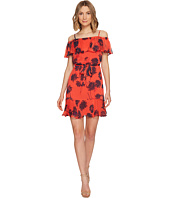 Donna Morgan - Belted Trapeze Dress with Ruffle Cold Shoulder