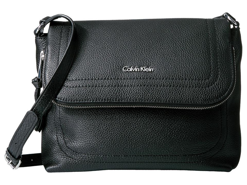 Calvin Klein Classic Pebble Pebble Messenger (Black/Silver) Messenger Bags