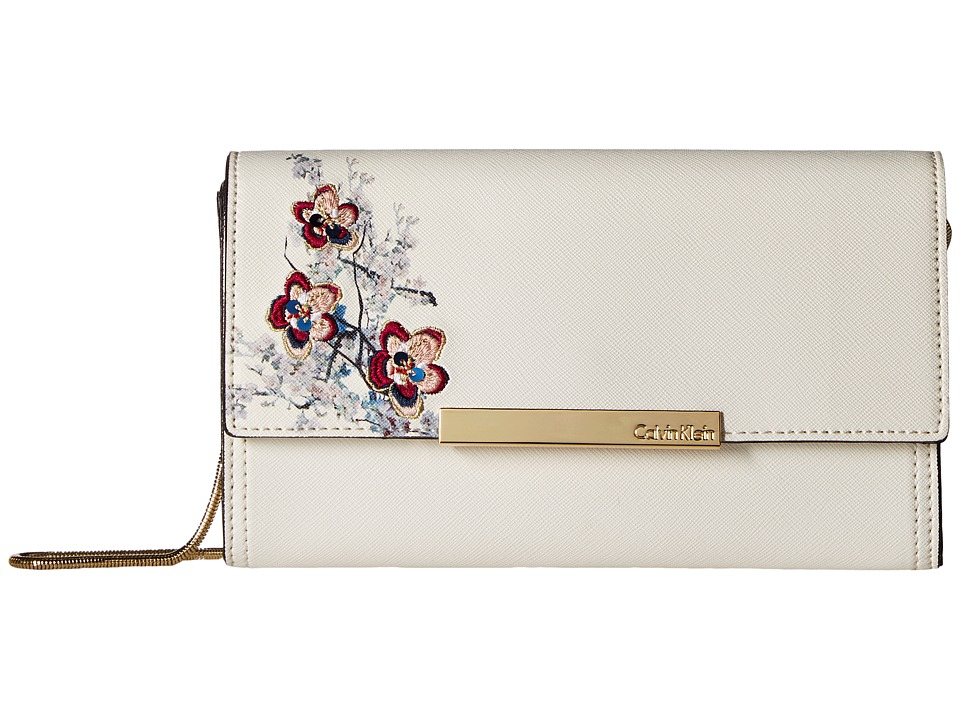 Calvin Klein Evening Saffiano Clutch (White Floral) Clutch Handbags