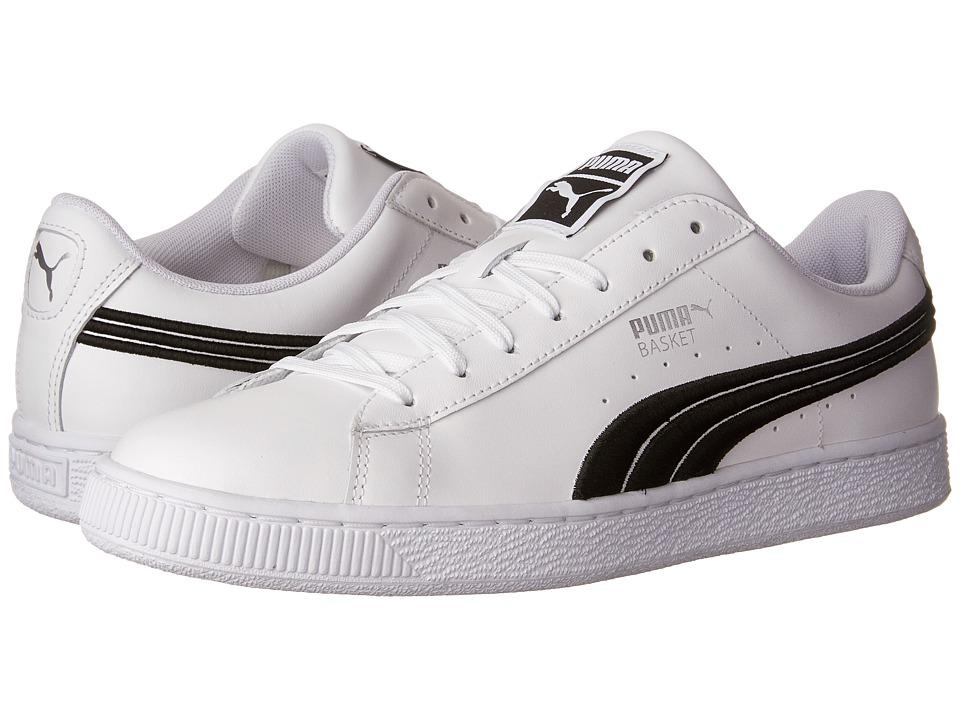 PUMA - Basket Classic Badge (Puma White/Puma Black) Mens Shoes