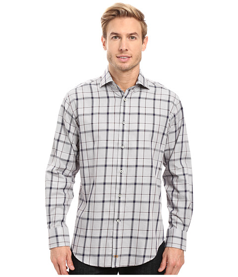 Thomas Dean & Co. Long Sleeve Big Check Sport Shirt - Grey