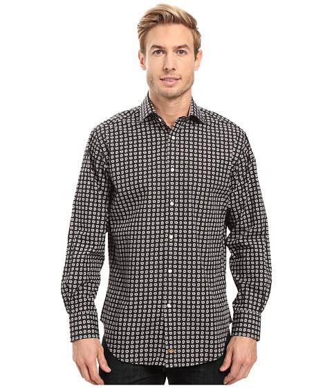 Thomas Dean & Co. One-Button Spread Collar Poplin - Brown
