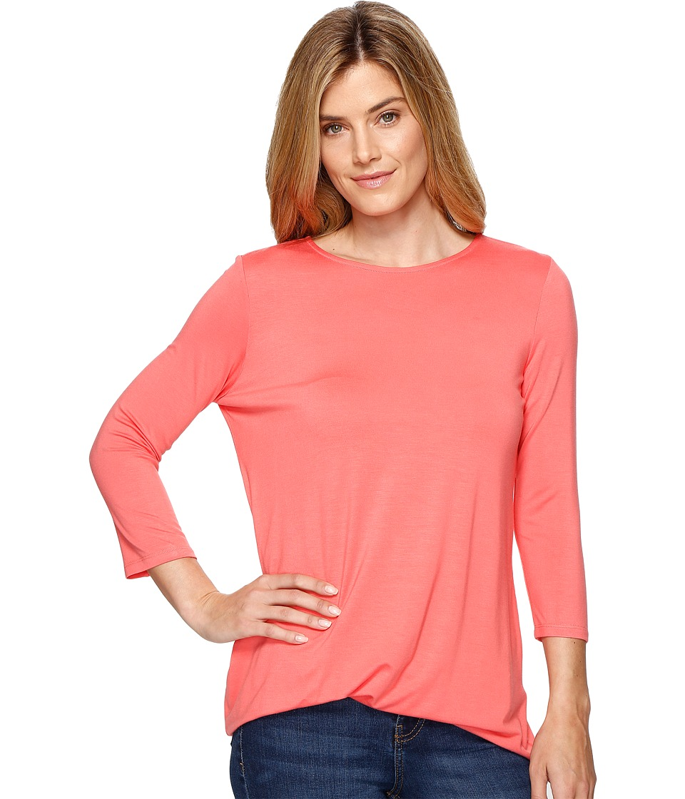 Lisette L Montreal - Siena Jersey Side Knot Top (Flamingo) Womens Long Sleeve Pullover