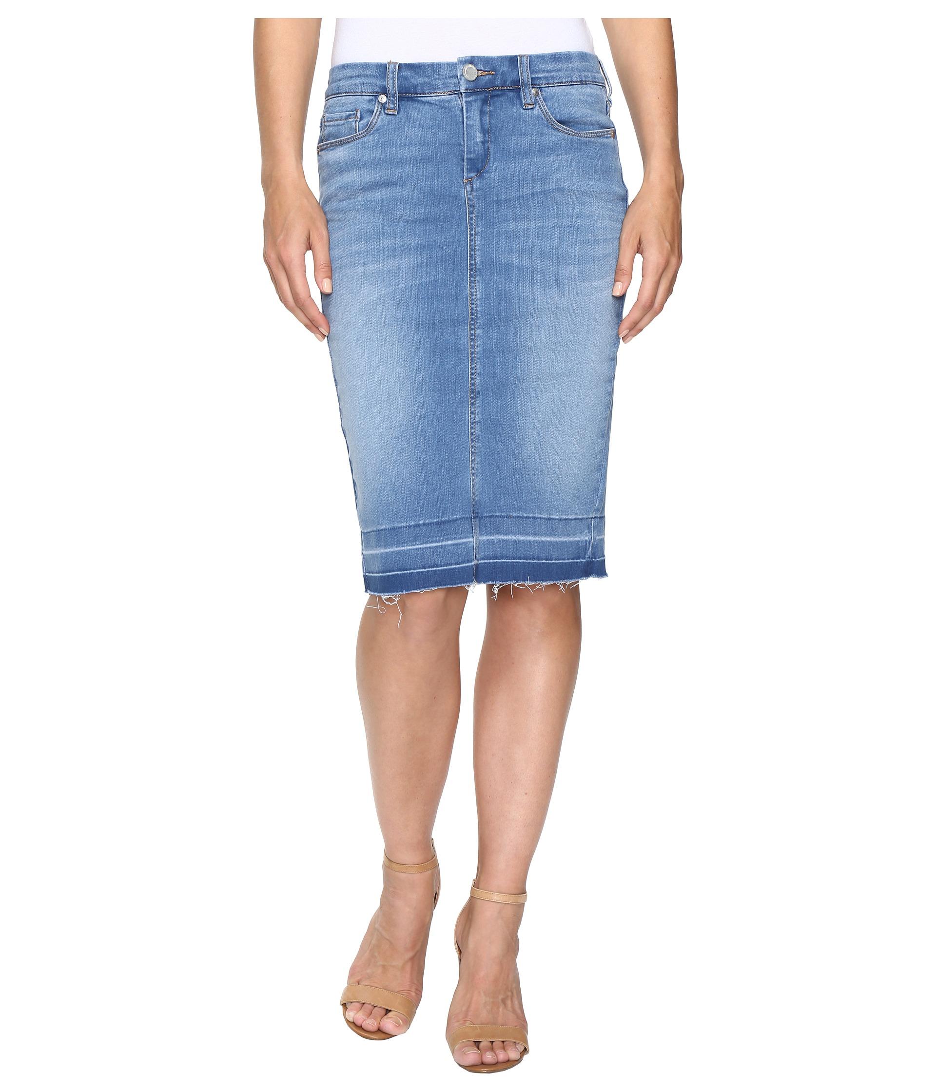 blank nyc denim rleased hem pencil skirt in one stand