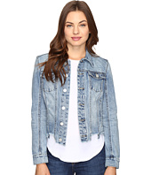 Blank NYC - Denim Crop Cut Off Detail Jacket in Shark Bite