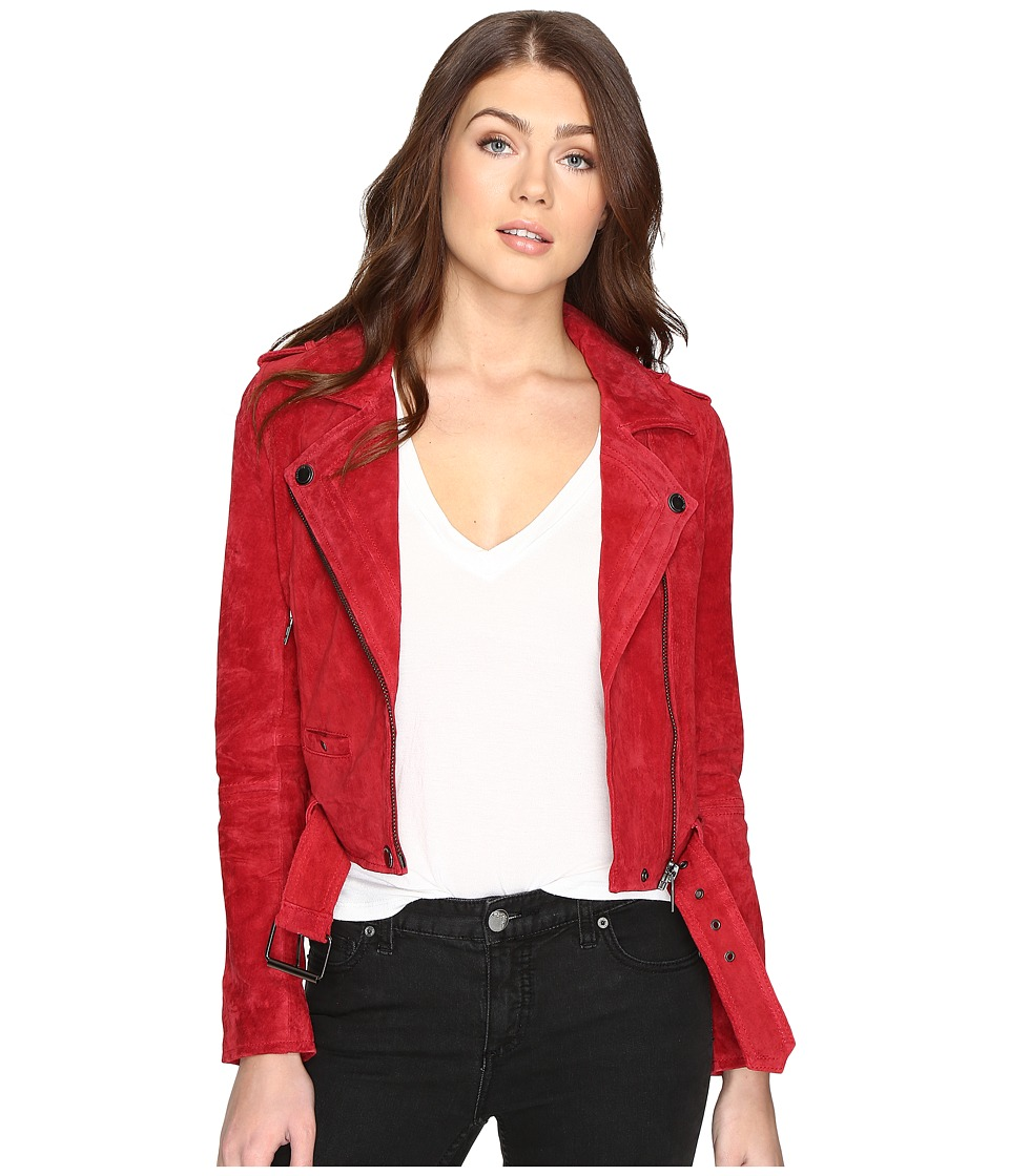 Blank NYC - Red Suede Moto Jacket in Red Moon (Red Moon) ...