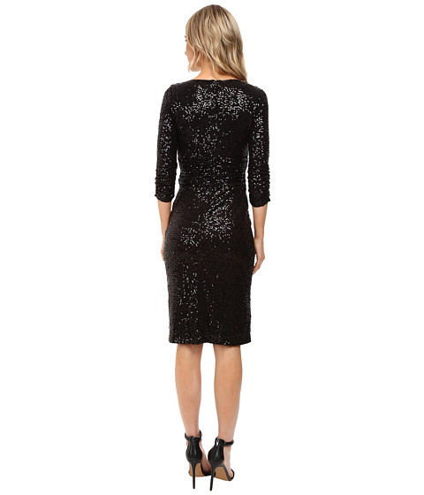 Shani Emerald: NUE By Shani Cross-Over V-Neckline Sequin Knit Dress At