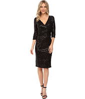 NUE by Shani - Cross-Over V-Neckline Sequin Knit Dress