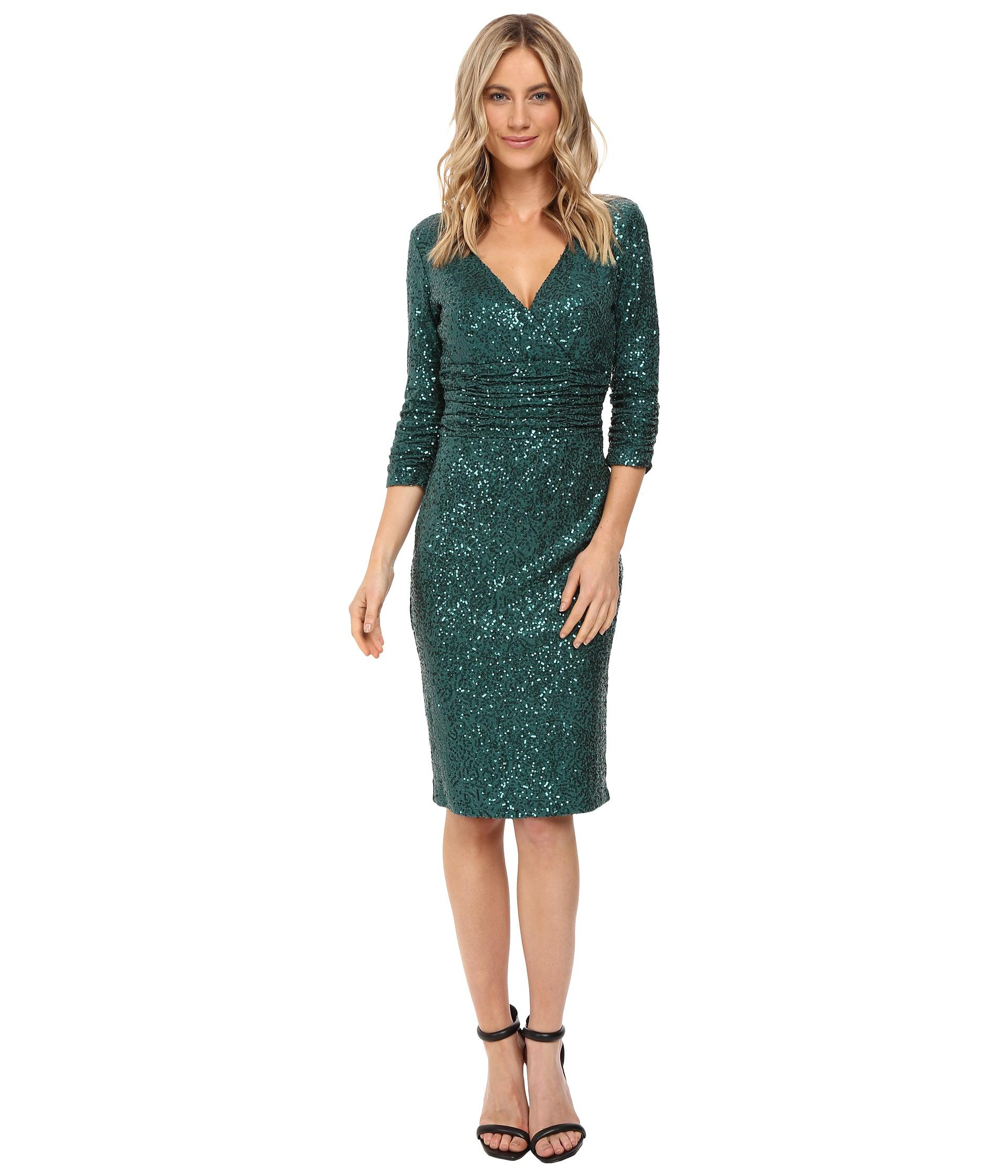 Shani Emerald: NUE By Shani Cross-Over V-Neckline Sequin Knit Dress