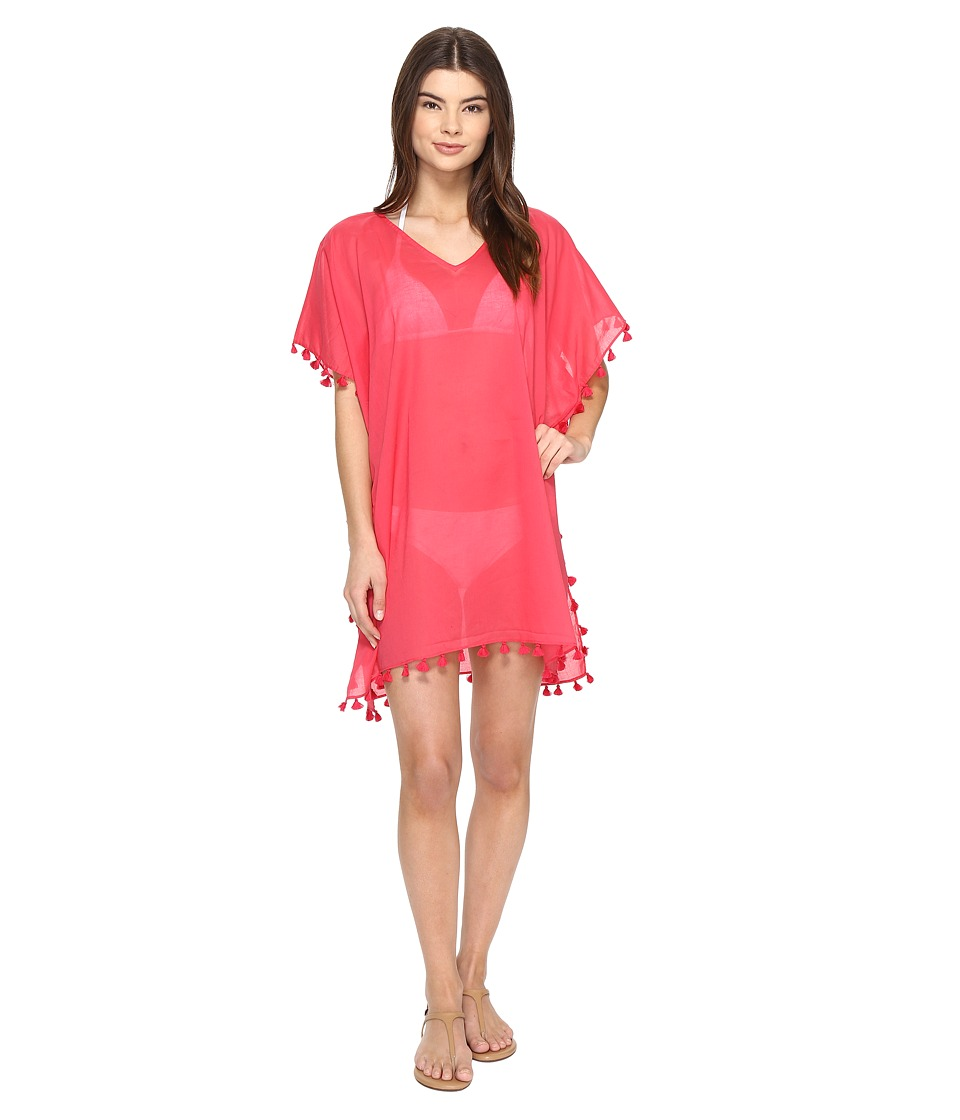 San Diego Hat Company - BST1710 V-Neck Cotton Tunic w/ Tassels (Raspberry) Womens Clothing