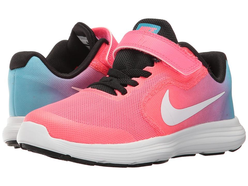 Nike Kids Revolution 3 (Little Kid) (Chlorine Blue/White/Racer Pink/Black) Girls Shoes