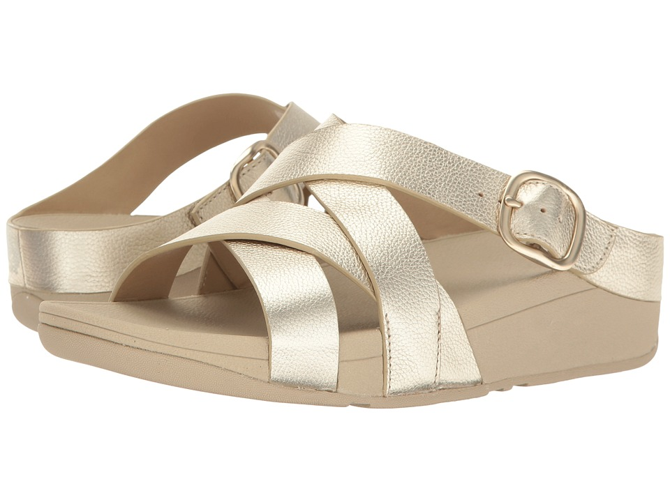 FitFlop The Skinny Crisscross Slide (Pale Gold) Women