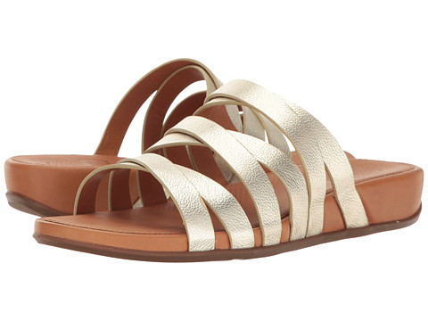 FitFlop Lumy Leather Slide - Pale Gold