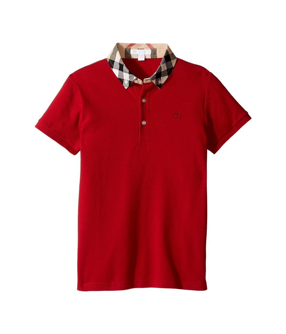 Burberry Kids - William Polo (Little Kids/Big Kids) (Military Red 1) Boys Short Sleeve Knit